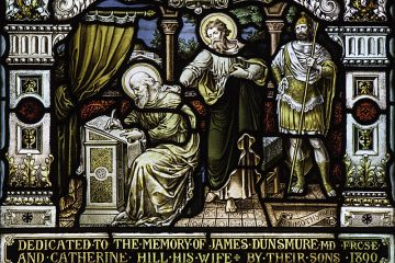 St Paul writing to St Timothy - Stained glass from St Cuthbert's church in Edinburgh