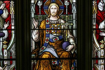 Christ the High Priest - Stained glass detail from the great west window of Lancaster Cathedral