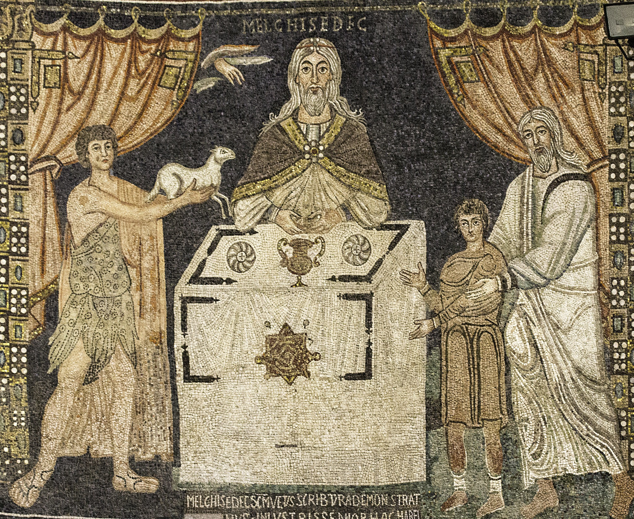 7th-century mosaic from Sant'Apollinare in Classe, near Ravenna of Melchizedek offering sacrifice, along with Abel and Abraham.