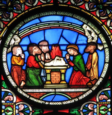 Noah offers Sacrifice - stained glass